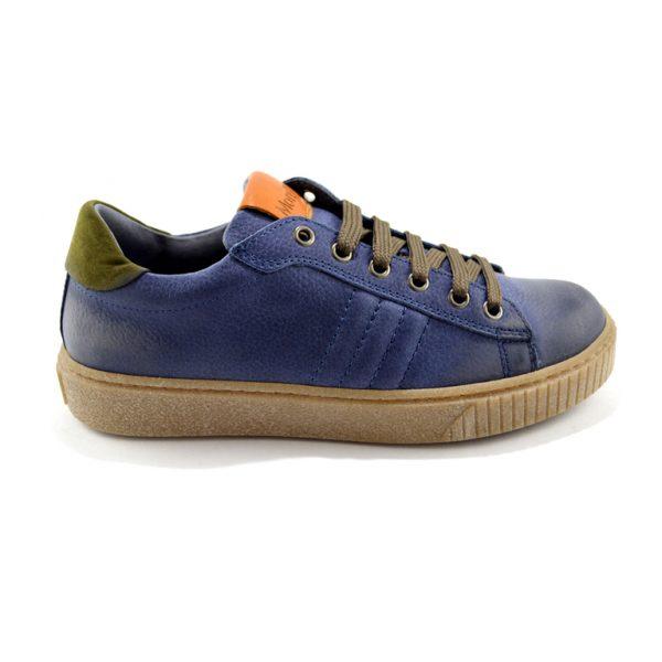 sneakers basse bianche blu e verde militare