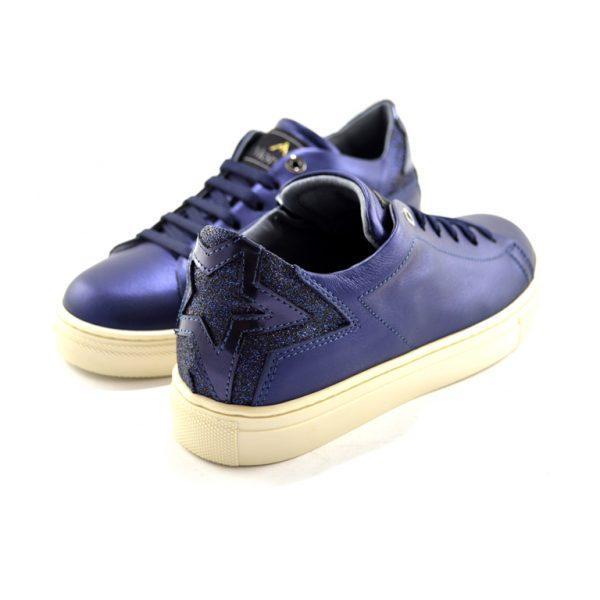 sneakers basse blu laminato