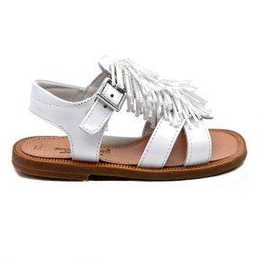 zecchino d'oro, sandalo frangia bianco cuoio, profilo