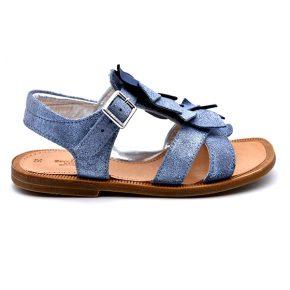 zecchino d'oro, sandalo frangia bluette cuoio, profilo