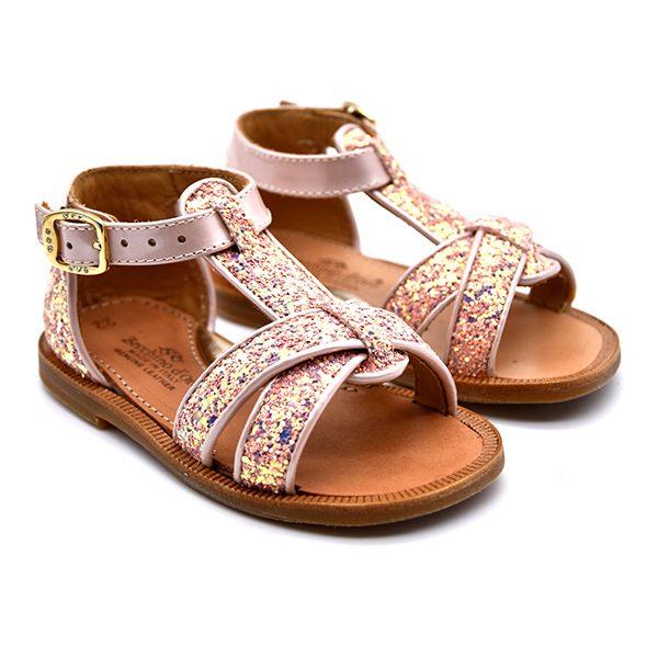 zecchino d'oro, sandalo, glitter rosa, fronte