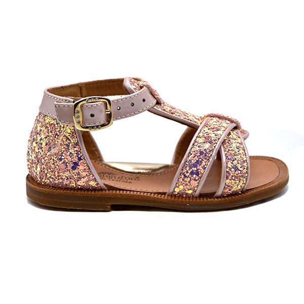 zecchino d'oro, sandalo, glitter rosa, profilo