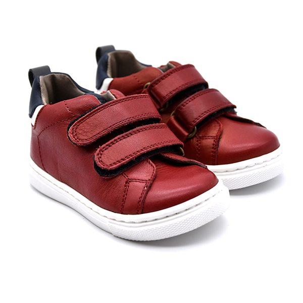 Romagnoli, sneakers, velcro, rosso, pelle, fronte