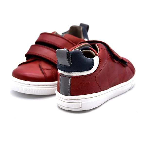 Romagnoli, sneakers, velcro, rosso, pelle, retro