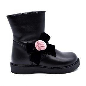 Walkie, stivale, fascia elastica, fiocco rosa, nero, profilo