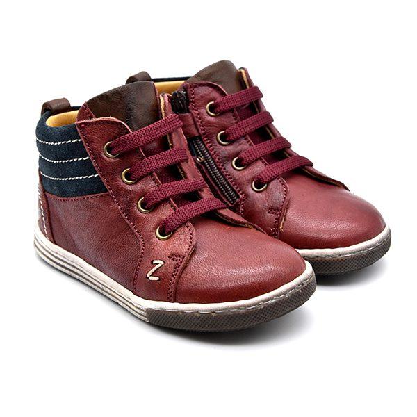 Zecchino D'Oro, sneakers, lacci, rosso, camoscio blu, fronte