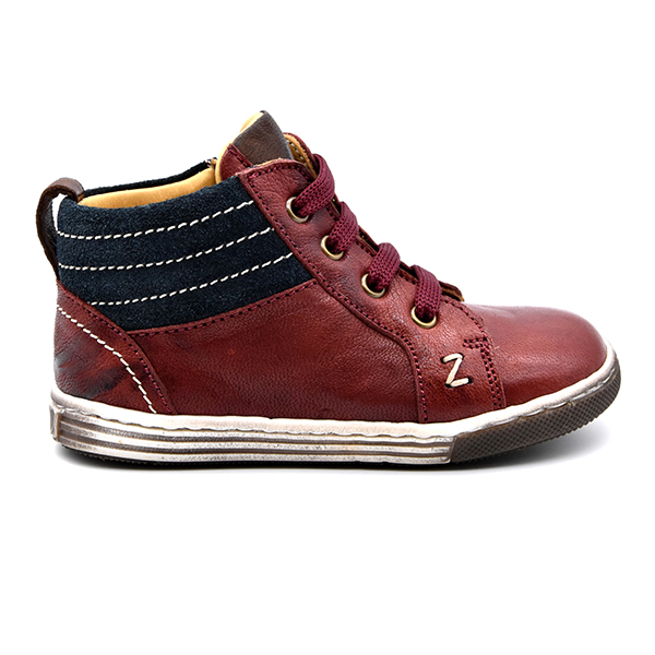Zecchino D'Oro, sneakers, lacci, rosso, camoscio blu, profilo