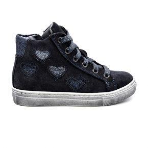 Galatea, sneakers, lacci, camoscio, grigio, glitter blu, profilo