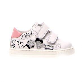 Naturino, Falcotto, mervi, sneakers, velcro, bianco, rosa, profilo