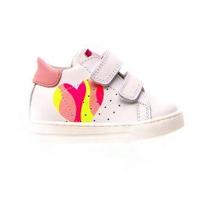 Naturino, Falcotto, mira, sneakers, velcro, bianco, rosa, profilo