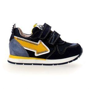 Naturino, crunch, sneakers, velcro, blu, giallo, profilo