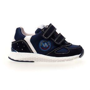 Naturino, isao, sneakers, velcro, blu, bianco, profilo