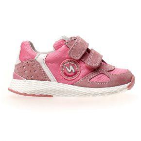 Naturino, isao, sneakers, velcro, rosa, bianco, profilo