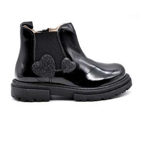 Walkey, stivaletto, made in italy, fascia elastica, zip, nero, lucido, cuori glitter, profilo
