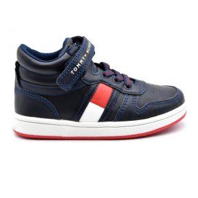 Tommy Hilfiger, sneakers alta, velcro lacci elasticizzati, pelle, blu, rosso, profilo