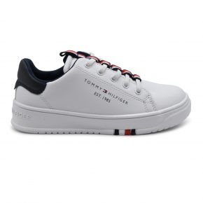 Tommy Hilfiger, sneakers, lacci, pelle, bianco, blu, profilo