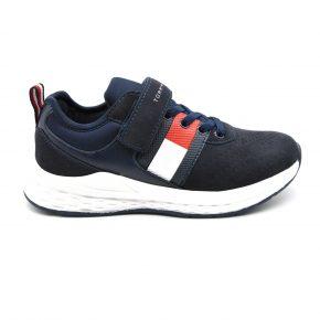 Tommy Hilfiger, sneakers, velcro lacci elasticizzati, pelle, blu, profilo
