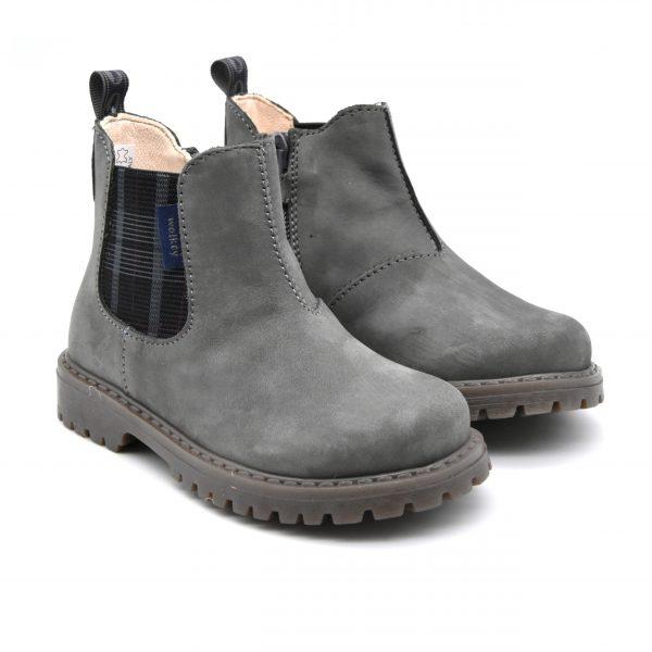 Walkey, stivaletto, made in Italy, fascia elastica, zip, camoscio, pelle, grigio, fronte