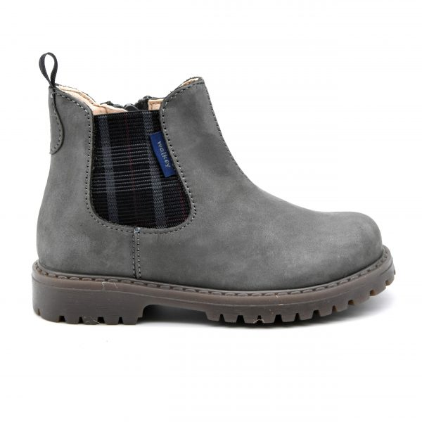 Walkey, stivaletto, made in Italy, fascia elastica, zip, camoscio, pelle, grigio, profilo