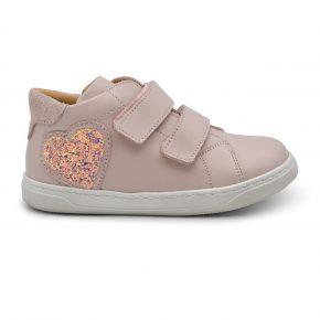 Zecchino D'oro, sneakers, velcro, made in Italy, cuore glitter, rosa, oro, profilo