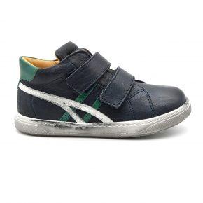 Zecchino D'oro, sneakers, velcro, pelle, made in Italy, blu scuro, verde, profilo