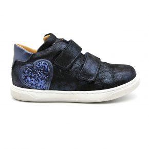 Zecchino D'oro, sneakers, velcro, pelle, made in Italy, glitter, viola, blu notte, profilo