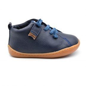 Camper, made in spain, primi passi, sneakers, lacci, pelle, blu, profilo