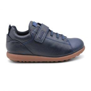 Camper, sneakers, lacci elasticizzati, velcro, pelle, blu, profilo