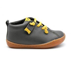 Camper, sneakers, primi passi, pelle, lacci elasticizzati, grigio, giallo, profilo