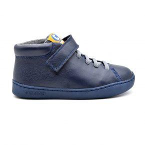 Camper, sneakers, primi passi, pelle, velcro, lacci elasticizzati, blu, grigio, profilo