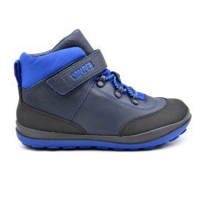 Camper, trekking, pelle, tessuto tecnico, lacci elasticizzati, velcro, azzurro, nero, blu, profilo