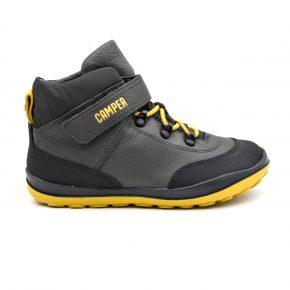 Camper, trekking, pelle, tessuto tecnico, lacci elasticizzati, velcro, grigio, nero, giallo, profilo