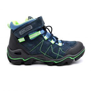 Gore Tex, Primigi, trekking, anti pioggia, water proof, pelle, camoscio, lacci elasticizzati, velcro, blu, verde fluo, profilo