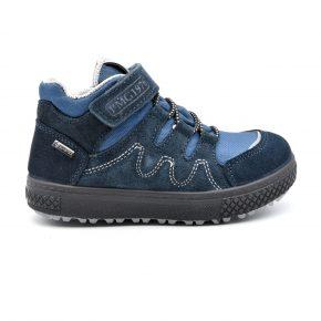 Gore Tex, Primigi, trekking, pelle, tessuto tecnico, lacci elasticizzati, velcro, blu, azzurro, profilo