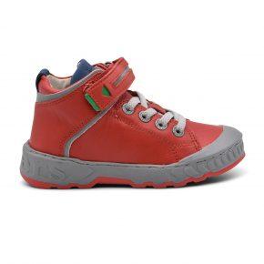 Kickers, sneakers alta, lacci, velcro, grigio, rosso, pelle, profilo