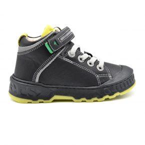 Kickers, sneakers alta, lacci, velcro, nero, giallo, pelle, profilo