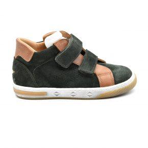 Zecchino D'oro, made in Italy, sneakers, camoscio, pelle, velcro, zip, verde, marrone, profilo